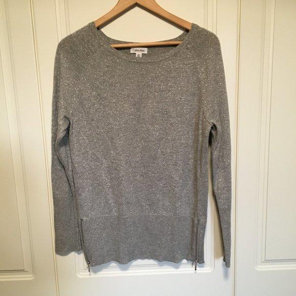 Calvin Klein grey/metallic fleck sweater S